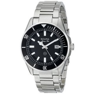 Bulova Men's 98B203 Stainless Steel Marine Star Date Watch with a Rotating Bezel and Luminous Hands and Markers