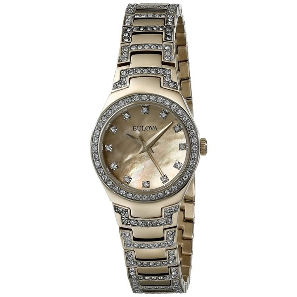 Bulova Women's 98L199 Gold Tone Stainless Steel Crystal Adorned Watch with a Gold Tone Dial 19395599