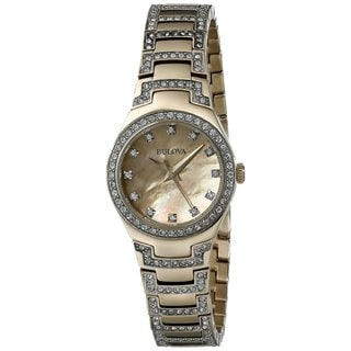 Bulova Women's 98L199 Gold Tone Stainless Steel Crystal Adorned Watch with a Gold Tone Dial