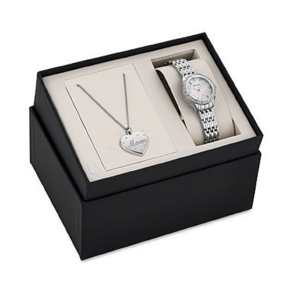 Bulova Women's 96X133 Stainless Steel Crystal Adorned Watch and Pendant Gift Set with a Mother of Pearl Dial 19395667