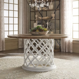 SIGNAL HILLS Vince Reclaimed Wood 60-inch Moroccan Trellis Drum Dining Table