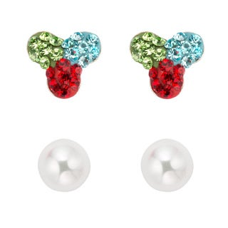 Pearlyta Silver Children's Crystal and Pearl Stud Earring Set