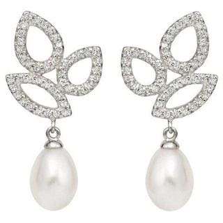 Pearlyta Sterling Silver Freshwater Pearl and CZ Drop Earrings