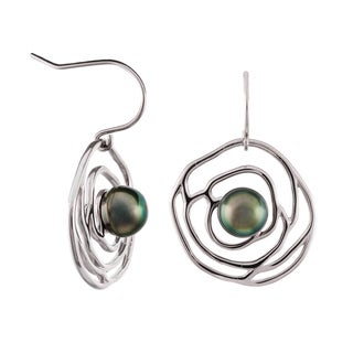 Pearlyta Sterling-silver Black Tahitian Pearl 9- to 10-millimeter Flower Design Earrings With Gift Box