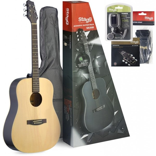 Stagg SA30D-N PACK Dreadnought Natural Acoustic Guitar Starter Pack with Accessories and CD-ROM Lessons Included 19396074