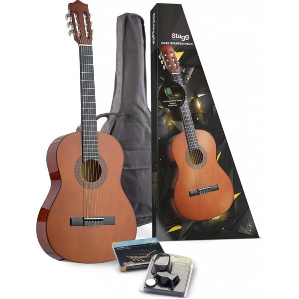 Stagg C542 STARTER P Classical Guitar Starter Pack With Tuner, String Set, and Gig Bag Included
