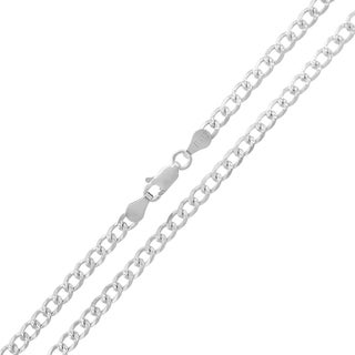 0.925 Sterling Silver 3.5-millimeter Solid Cuban Curb-link Diamond-cut ITProLux Necklace Chains
