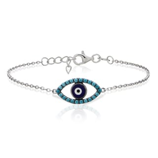 Glitzy Rocks Sterling Silver Nano Simulated Turquoise Evil Eye Bracelet