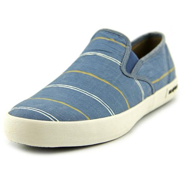 Seavees Men's Baja Slip-on Break Line Blue Canvas Athletic Shoes