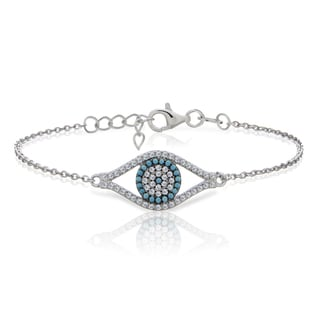 Glitzy Rocks Sterling Silver Nano Simulated Turquoise and Cubic Zirconia Evil Eye Bracelet