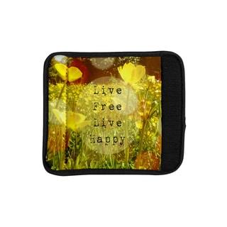 KESS InHouse Alison Coxon 'Live Free' Yellow Green Luggage Handle Wrap
