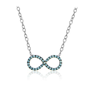 Glitzy Rocks Sterling Silver Nano Simulated Turquoise Infinity Necklace
