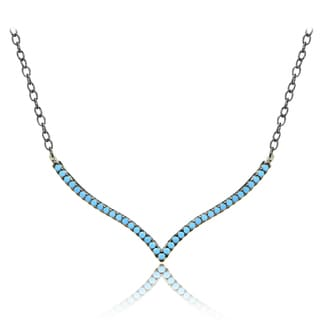 Glitzy Rocks Sterling Silver Nano Simulated Turquoise V-shape Necklace