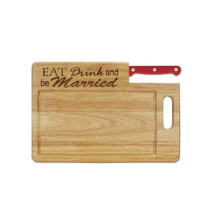 Essential Series 'Eat, Drink, and be Married' Wood Cutting Board With Santoku Knife