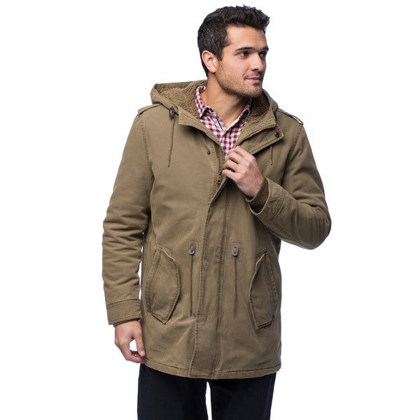 GH Bass Men's Woobie Lined Cotton Jacket With Hood Large Size in Khaki(As Is Item)