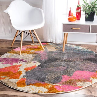 nuLOOM Abstract Vintage Fancy Multi Round Rug (5'3 Round)