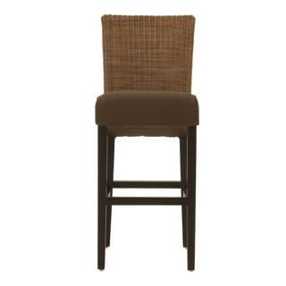 Gray Manor Alfred Espresso Finish Wood, Wicker and Fabric Barstool (set of 2)