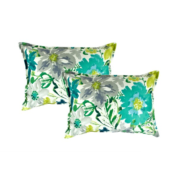 Sherry Kline Summer Floral Teal Boudoir Decorative Pillows (set of 2)