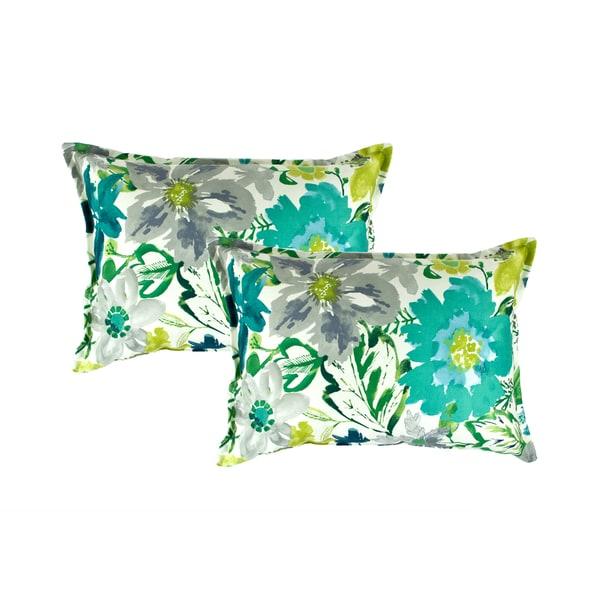 Sherry Kline Summer Floral Teal Boudoir Decorative Pillows (set of 2)