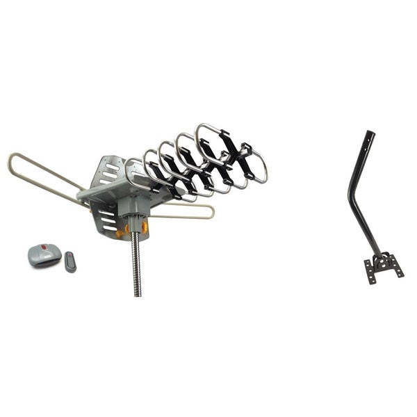 Super Amplified Outdoor Remote-controlled HDTV Antenna UHF/VHF FM Radio 360-degree Motorized Rotation Kit