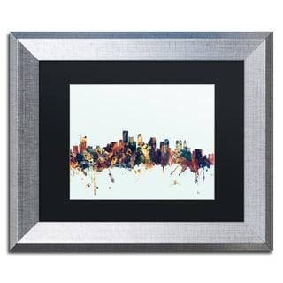 Michael Tompsett 'Boston MA Skyline Blue' Matted Framed Art