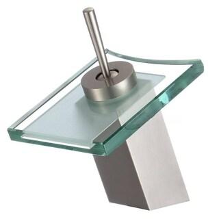 Yosemite Glass 5-inch Single-hole Lever Handle Waterfall Bathroom Faucet