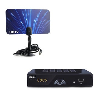 Digital Television Converter Box and HD Flat Antenna Bundle Package for Viewing and Recording HD Digital Channels