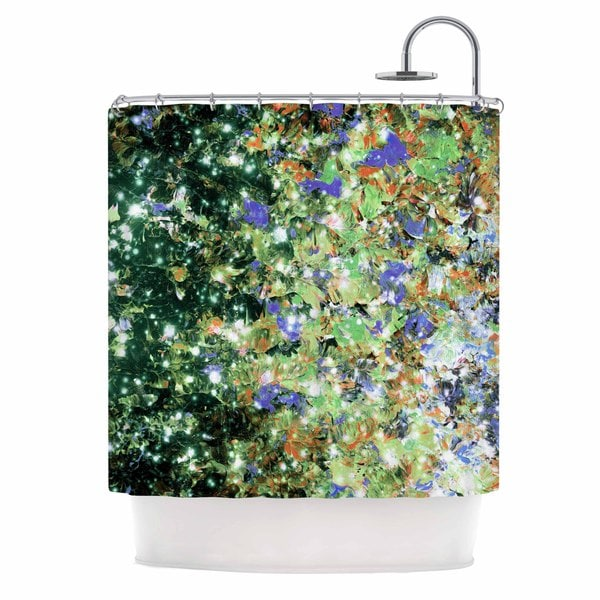 KESS InHouse Ebi Emporium 'Into To The Night Green Purple' Shower Curtain (69x70)