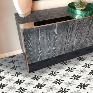 Handmade Azrou Grey & Black Cement and Granite Pack of 12 Moroccan Tiles (Morocco)