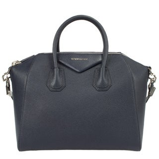 Givenchy Antigona Goatskin Leather Satchel Bag with Shoulder Strap and Silver Hardware