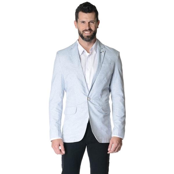 Men's Blue, Grey Cotton-blended 2-button Slim Fit Casual Sport Jacket