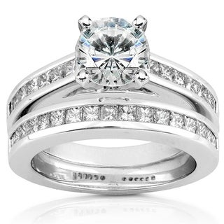 Annello 14k White Gold 1ct Round Moissanite and 1ct TDW Diamond Princess Channel Bridal Set (H-I, I1-I2)