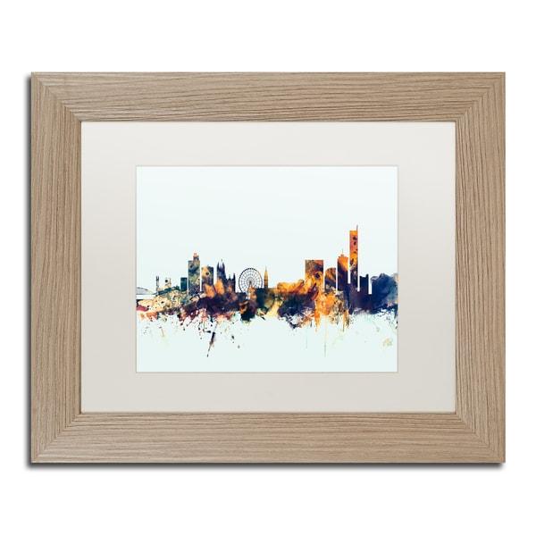 Michael Tompsett 'Manchester Skyline Blue' Matted Framed Art