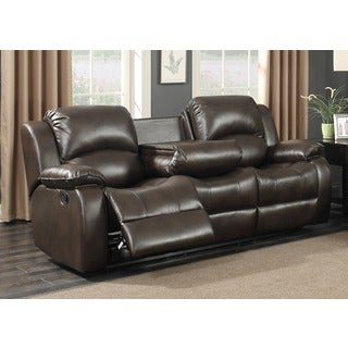AC Pacific Samara Transitional Brown Leather Reclining Sofa with Drop Down Table