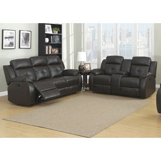 Troy 2-Piece Brown Sofa and Loveseat Living Room Set with 4 Recliners, Storage Console and Cup Holders (Set of 2)