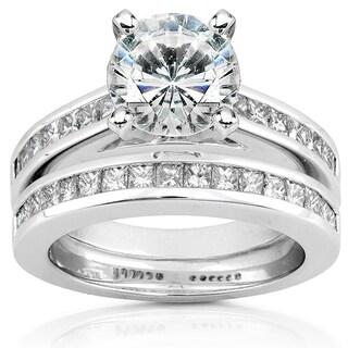 Annello 14k White Gold 1 7/8ct Round Moissanite and 1ct TDW Diamond Princess Channel Bridal Set (H-I, I1-I2)