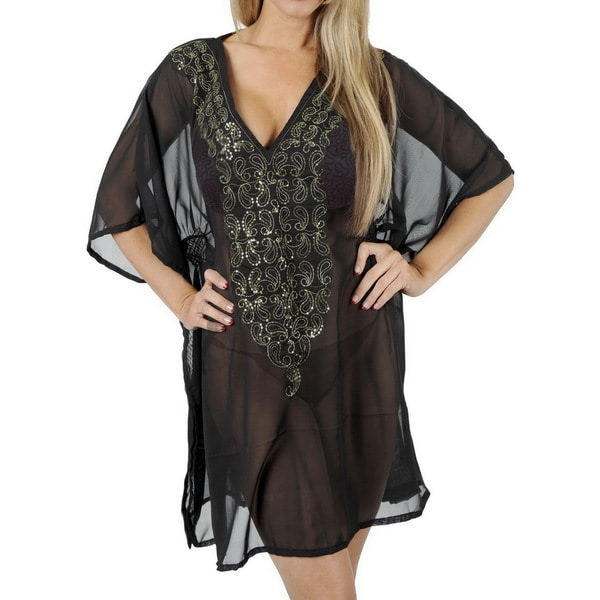 La Leela Elegant Sexy Beach Wear Women Resort Dresses Bikini Cover up Top Tunic Cover up