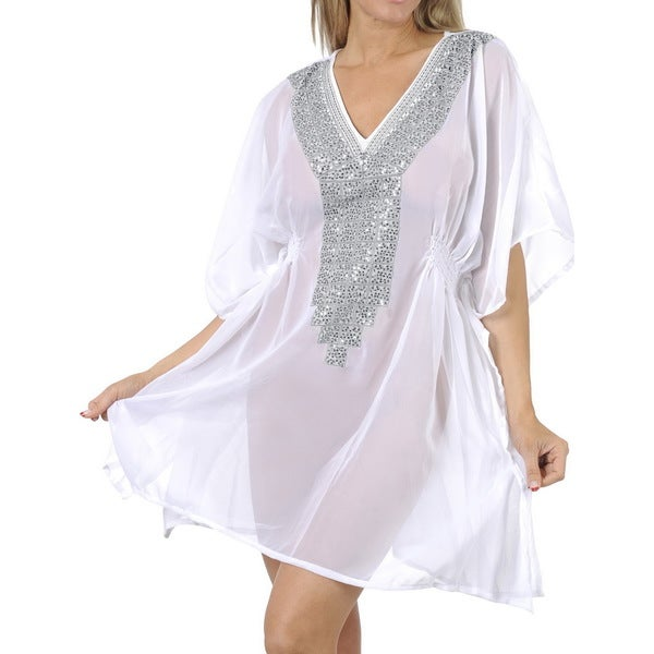 La Leela Bikini Cover up Swimwear Women's White Chiffon Lightweight Deep V-neck Beach Cover-up