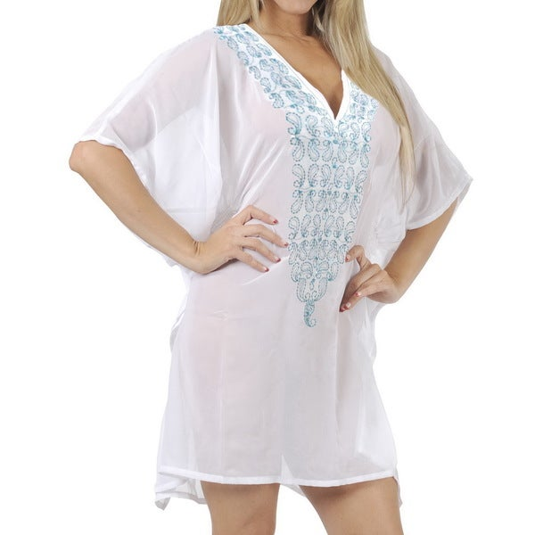 La Leela SHEER CHIFFON Deep Neck Embroidered Women PLUS Bikini Cover up White Dress TOP