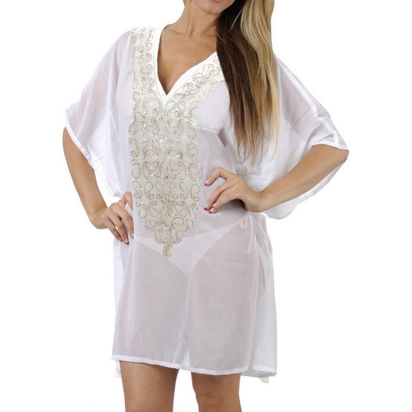 La Leela Embroidered Paisley Stretchy CHIFFON Swimsuit Bikini Cover up TOP PLUS White