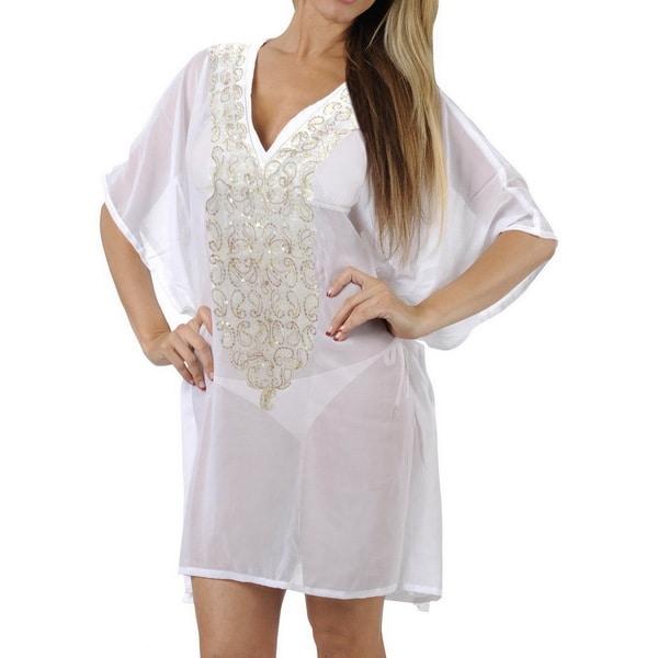 La Leela Embroidered Paisley Stretchy CHIFFON Swimsuit Bikini Cover up TOP PLUS White