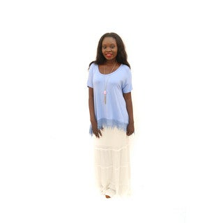 Hadari Women's (2 Piece Set) Outfit High-low Solid Color Short Sleeve Top and White Maxi Skirt With Embroidered Elastic Waist