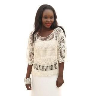 Hadari Women's White Crochet Crop Top