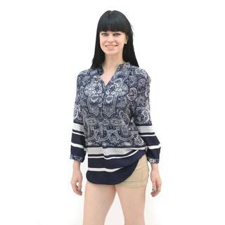 Hadari Women's Long Sleeve Paisley Mandarin Collar Blouse