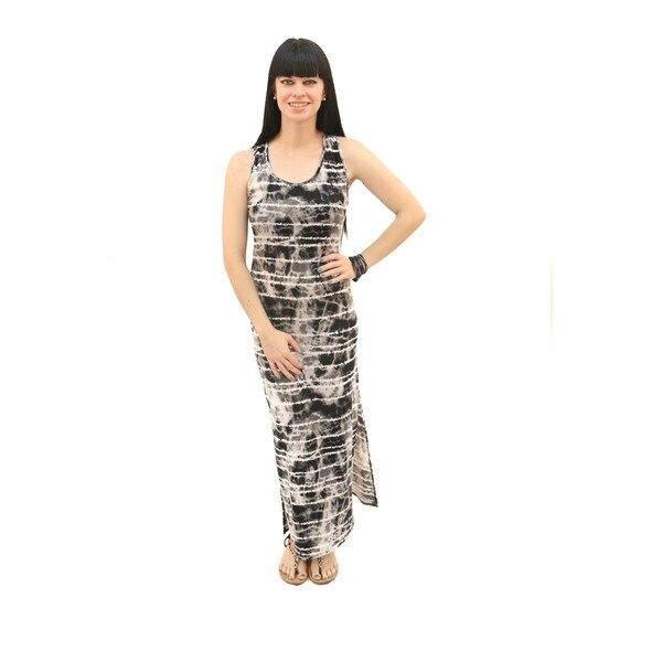 Hadari Women's Tie-Dye Racer Back Maxi Dress