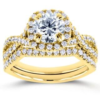 Annello Yellow Gold 1 3/4ct TDW Round Diamond Braided Bridal Set (H-I, I1-I2)