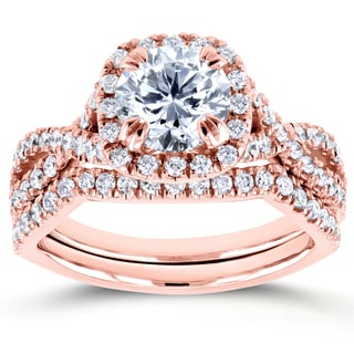 Annello Rose Gold 1 3/4ct TDW Round Diamond Braided Crisscross Bridal Set (H-I, I1-I2)