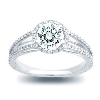Azaro 14k White Gold 1/3ct TDW Diamond and Cubic Zirconia Round Halo Engagement Ring (H-I, SI1-SI2)