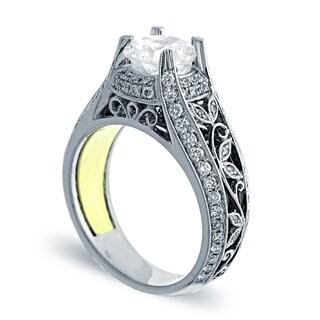 Azaro 14K Two-Tone Gold 4/5ct TDW Diamond Floral Engagement Ring (H, SI1-SI2)