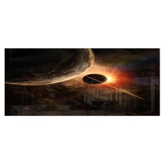 Designart 'Planet with Rings' Contemporary Metal Wall Art